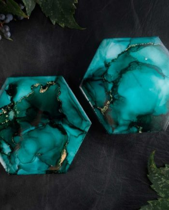Illyra Collection Elysium Carrara Marble Coasters in Emerald Green