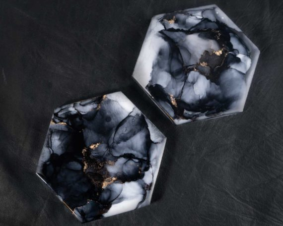 Illyra Collection Elysium Carrara Marble Coasters in Graphite Gray